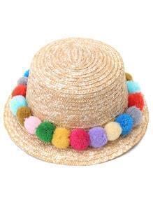 Random Pom Pom Trim Straw Hat