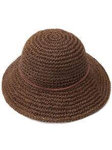 Coffee Bow Trim Straw Hat