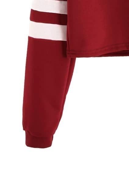 Burgundy Varsity Striped Sleeve Crop T-shirt