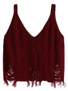 Burgundy Double V Neck Raw Hem Knit Top