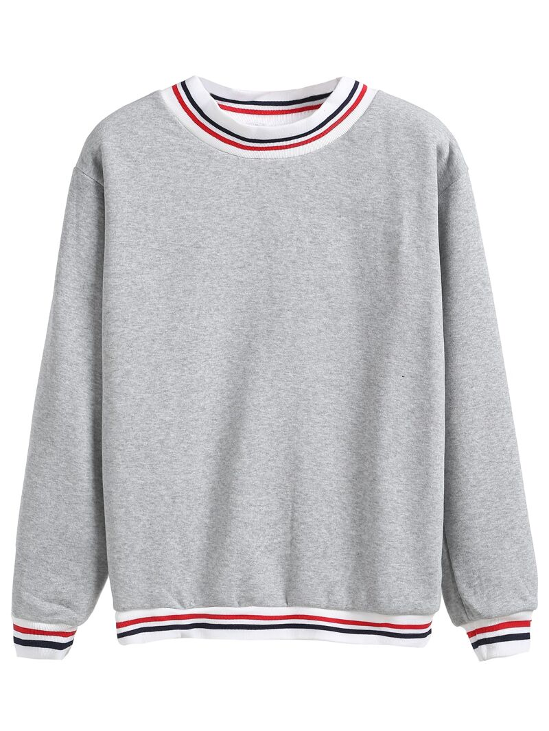 903a164b09 Heather Grey Contrast Striped Trim Sweatshirt