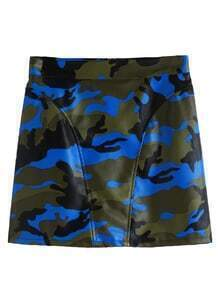 Camo Print Faux Leather Zip Skirt