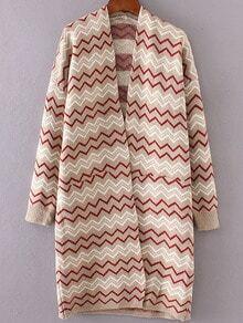 Khaki Wave Pattern Open Front Long Cardigan