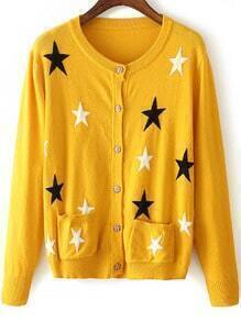 Yellow Star Pattern Front Pocket Button Cardigan