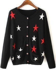 Black Star Pattern Front Pocket Button Cardigan