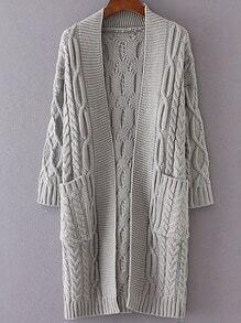 Grey Drop Shoulder Pocket Cable Knit Long Cardigan