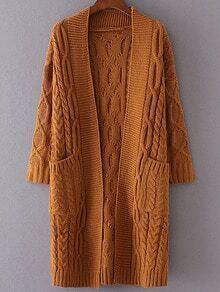 Khaki Drop Shoulder Pocket Cable Knit Long Cardigan