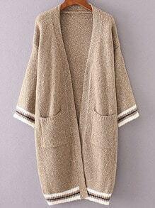 Khaki Striped Trim Front Pocket Long Cardigan