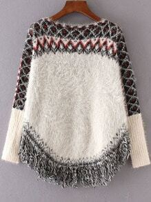 White Geometric Pattern Fringe Hem Mohair Cape Sweater
