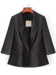 Black Single Button Shawl Collar Slit Sleeve Blazer