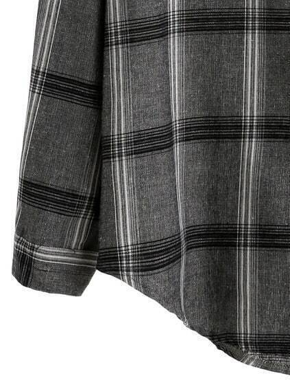 Grey Plaid Drop Shoulder Pocket Shirt