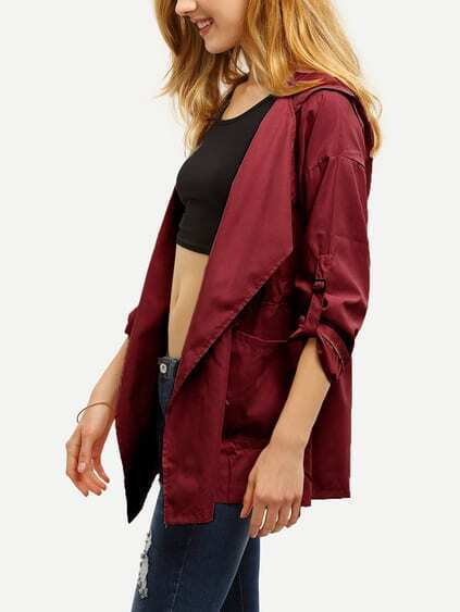 Burgundy Drawstring Pockets Hooded Coat