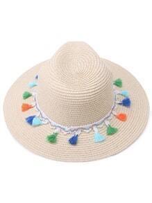 White Tassel Trim Straw Fedora Hat