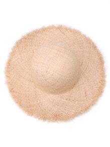 Raw Edge Raffia Straw Hat