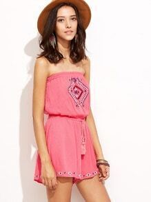 Hot Pink Embroidered Drawstring Tassel Tie Waist Strapless Romper