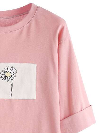 Pink Contrast Daisy Print High Low Cuffed T-shirt