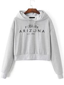 Grey Letter Embroidery Crop Hooded Sweatshirt