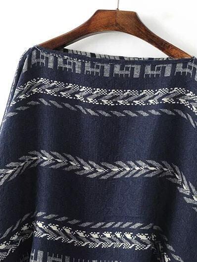 pull poncho motif tribal col bateau avec frange bleu marine french romwe. Black Bedroom Furniture Sets. Home Design Ideas