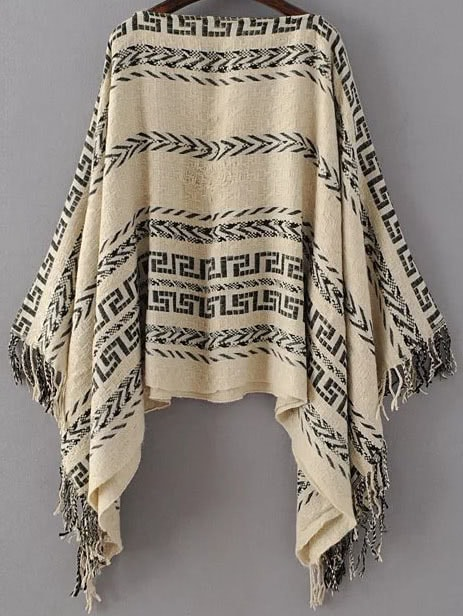 pull poncho motif tribal col bateau avec frange kaki french romwe. Black Bedroom Furniture Sets. Home Design Ideas