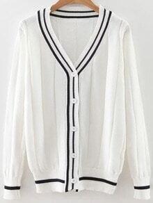 White Striped Trim Button Up Cardigan
