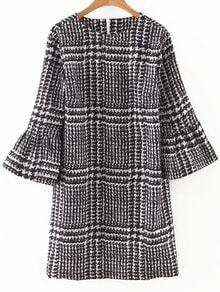 Black Houndstooth Print Bell Sleeve Dress
