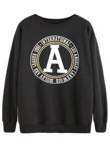 Black Graphic Print Drop Shoulder Sweatshirt