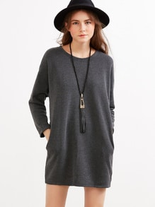 Grey Drop Shoulder Pockets Shift Dress