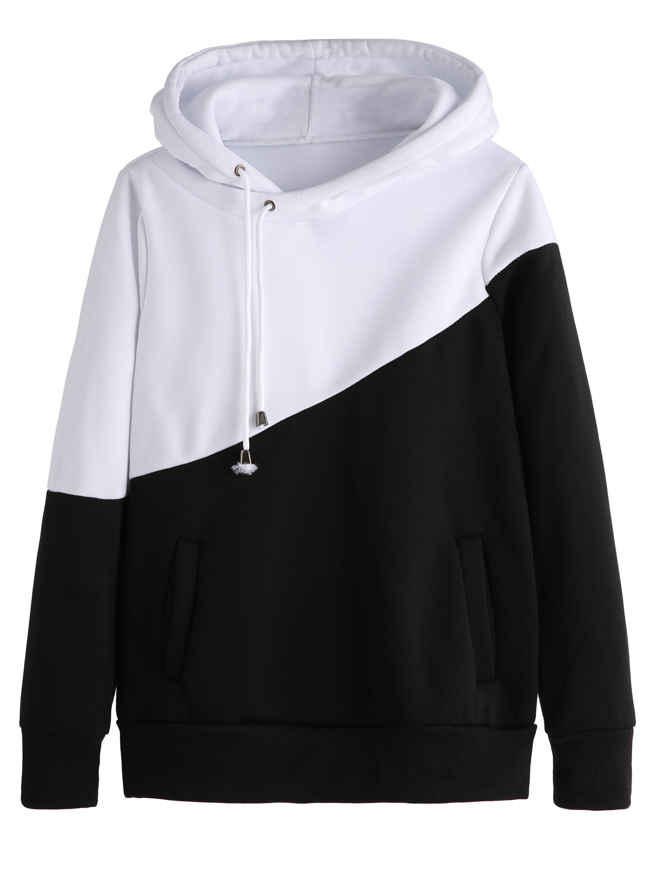 Color Block Hooded Sweatshirt With PocketsFor Women-romwe