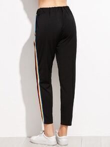 Black Rainbow Stripe Side Pantsfor Women Romwe
