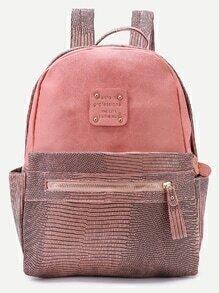 Pink Metallic Embellished PU Backpack
