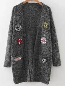 Black Marled Knit Patch Long Cardigan With Pockets