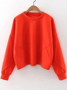 Orange Crew Neck Drop Shoulder Sweatshirt