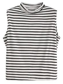 Black And White Striped Sleeveless Mock Neck Top