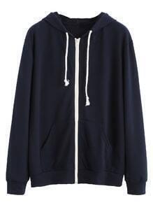 Navy Contrast Zip Drawstring Hooded Pocket Sweatshirt