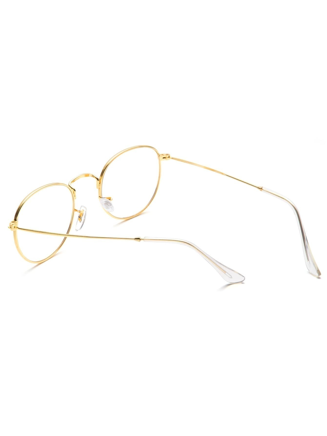 gold frame clear lens glasses sunglass160909312_1 sunglass160909312_2 size reference