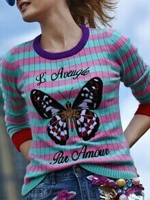 Pink Green Striped Butterfly Embroidered Sweatshirt