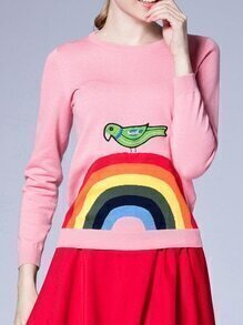 Pink Color Block Bird Embroidered Knit Sweatshirt