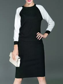Black White Color Block Knit Top With Skirt