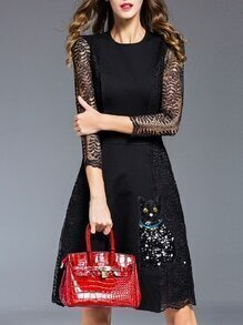Black Contrast Lace Cat Sequined A-Line Dress