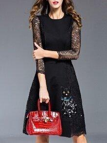 Black Contrast Lace Cat Sequined A-Line Dress