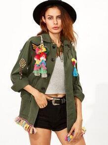 Olive Green Tribal Back Tassel Embellished Utility Jacket