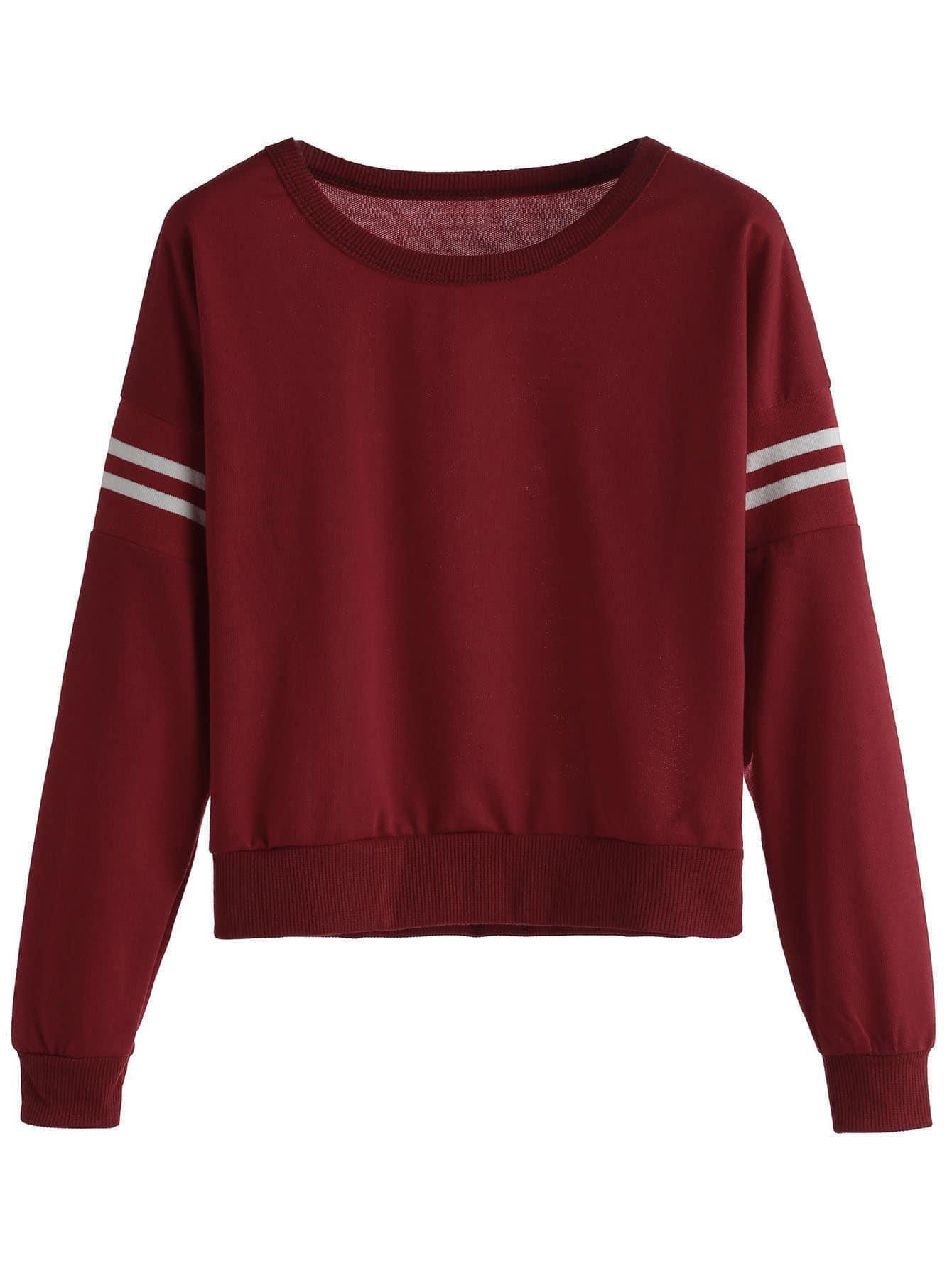 burgundy varsity striped crop sweatshirtfor women romwe