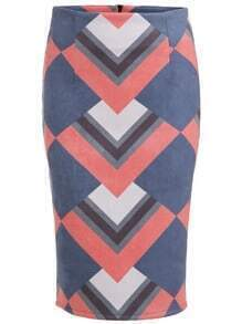 Color Block Split Zipper Back Pencil Skirt
