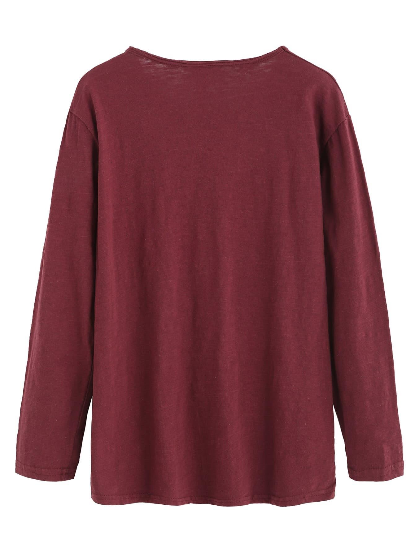 Burgundy v neck letters print long sleeve t shirtfor women for Burgundy long sleeve t shirt womens