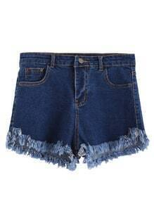 Dark Blue Frayed Hem Denim Shorts
