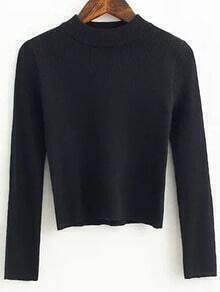 Black Crew Neck Crop Knitwear