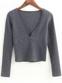 Grey Deep V Neck Crop Knitwear