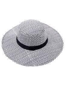 Black And White Large Brimmed Straw Hat