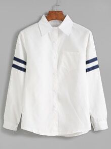 White Striped Trim Long Sleeve Shirt With Pocket