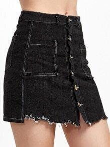 Black Single Breasted Raw Hem Denim Skirt